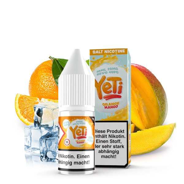 YETI Nic Salt Orange Mango Nikotinsalz Liquid 10 ml