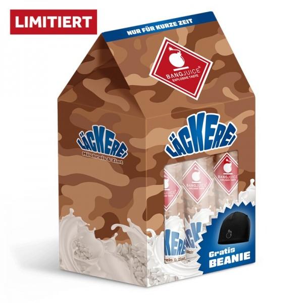 Bang Juice® LÄCKEREI-BUNDLE-LIMITED 3x Milchreis & Zimt Aroma inkl. BEANIE